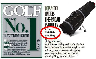 Turn on images to see the Clubglider in Golf Magazine